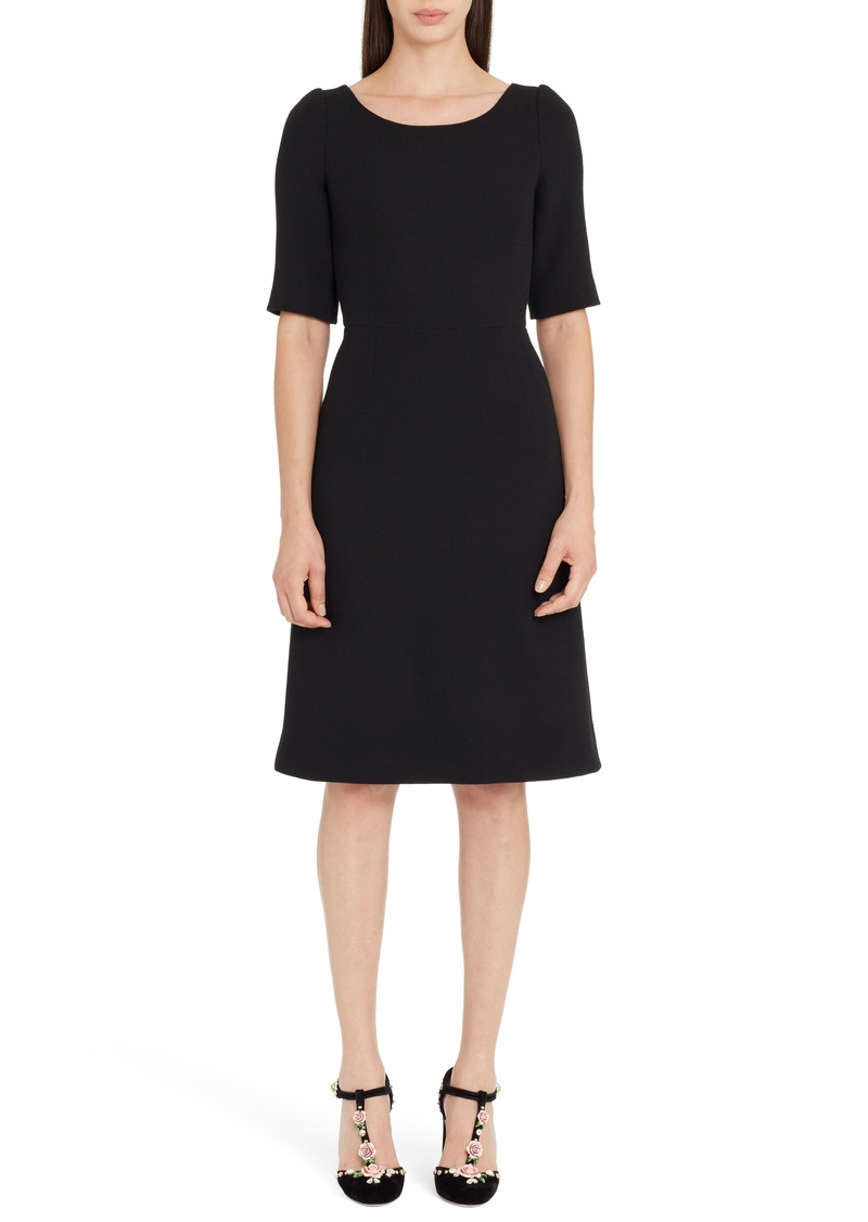 Dolce & Gabbana Dolce&Gabbana Button Detail Wool Crepe Dress