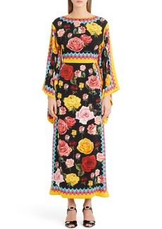 Dolce & Gabbana Dolce&Gabbana Charm Rose Print Stretch Silk Maxi Dress