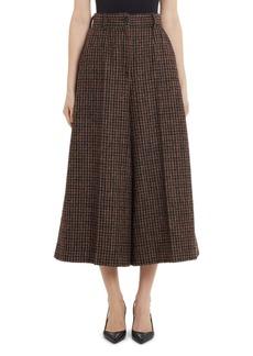 Dolce & Gabbana Dolce&Gabbana Check Wool Blend Wide Leg Crop Pants