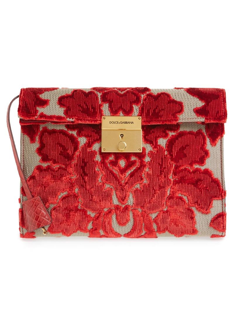 535f6ab74d1e Dolce   Gabbana Dolce Gabbana Clea Velvet Floral Clutch