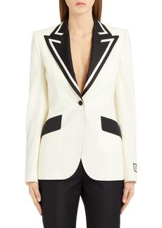 Dolce & Gabbana Dolce&Gabbana Contrast Lapel Stretch Wool & Silk Blazer