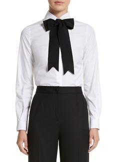 Dolce & Gabbana Dolce&Gabbana Cotton Poplin Blouse with Bow