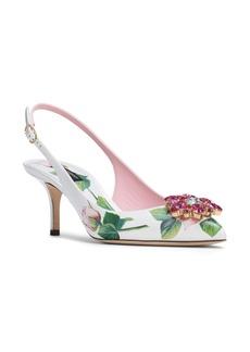 Dolce & Gabbana Dolce&Gabbana Crystal Embellished Rose Slingback Pump (Women)
