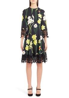 Dolce & Gabbana Dolce&Gabbana Daffodil Print Crochet Trim Cady Dress