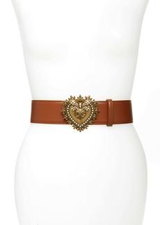 Dolce & Gabbana Dolce&Gabbana Devotion Logo Heart Buckle Leather Belt