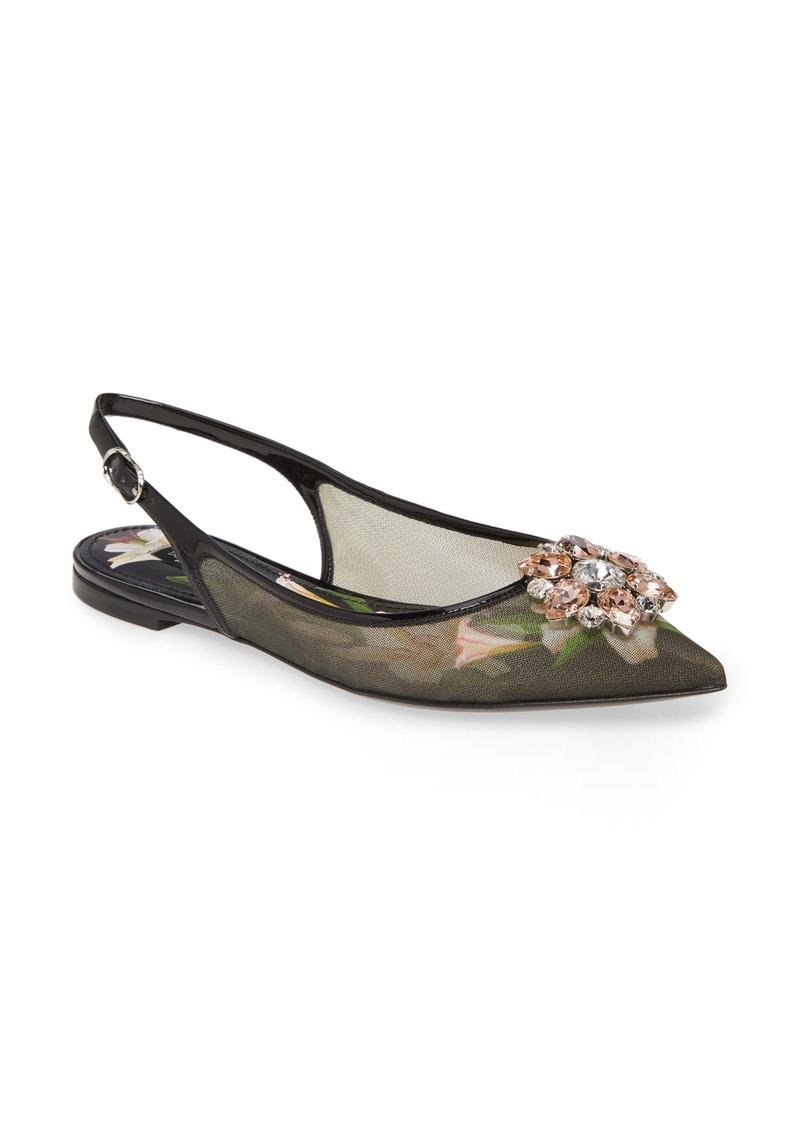 Dolce & Gabbana Dolce&Gabbana Embellished Slingback Flat (Women)