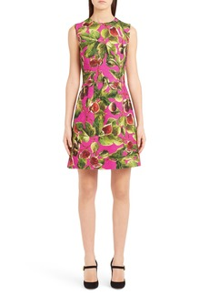 Dolce & Gabbana Dolce&Gabbana Fig Print Brocade A-Line Dress