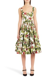Dolce & Gabbana Dolce&Gabbana Fig Print Poplin Dress