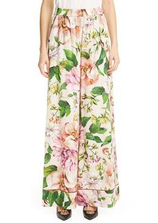 Dolce & Gabbana Dolce&Gabbana Floral Charmeuse Wide Leg Pants