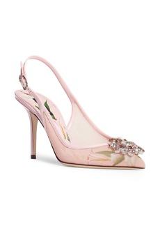 Dolce & Gabbana Dolce&Gabbana Floral Crystal Slingback Pump (Women)