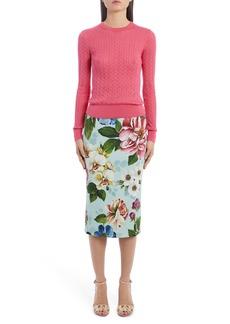 Dolce & Gabbana Dolce&Gabbana Floral Print Cady Pencil Skirt