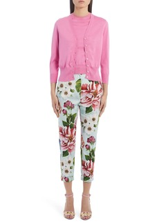 Dolce & Gabbana Dolce&Gabbana Floral Print Cotton Drill Straight Leg Pants