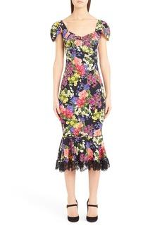 Dolce & Gabbana Dolce&Gabbana Floral Print Flare Hem Silk Blend Charmeuse Dress