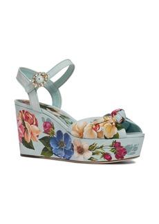 Dolce & Gabbana Dolce&Gabbana Floral Print Platform Wedge Sandal (Women)