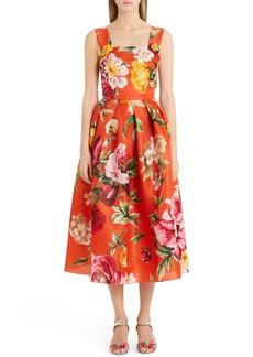 Dolce & Gabbana Dolce&Gabbana Floral Print Silk Organza Tea Length Dress