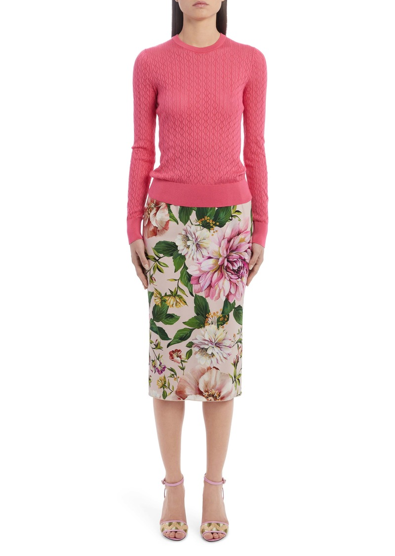 Dolce & Gabbana Dolce&Gabbana Floral Print Stretch Silk Charmeuse Pencil Skirt