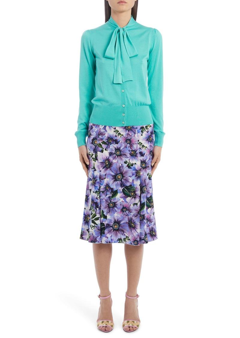 Dolce & Gabbana Dolce&Gabbana Floral Stretch Silk Charmeuse Skirt