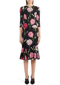Dolce & Gabbana Dolce&Gabbana Fluted Hem Floral Print Charmeuse Dress