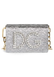 Dolce & Gabbana Dolce&Gabbana Girls Crystal Logo Lamé Shoulder Bag