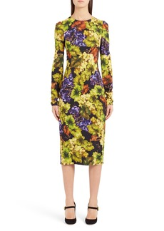 Dolce & Gabbana Dolce&Gabbana Grape Print Cady Body-Con Dress