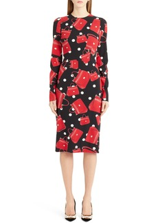 Dolce & Gabbana Dolce&Gabbana Handbag Print Stretch Silk Dress