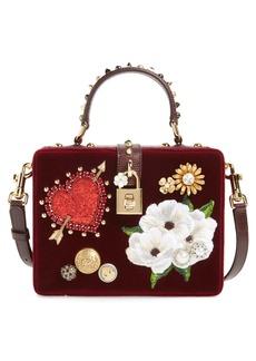 Dolce & Gabbana Dolce&Gabbana Heart Floral Embellished Velvet Box Bag