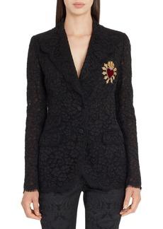Dolce & Gabbana Dolce&Gabbana Heart Patch Lace Blazer