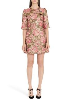 Dolce & Gabbana Dolce&Gabbana Heart Patch Metallic Floral Jacquard Dress