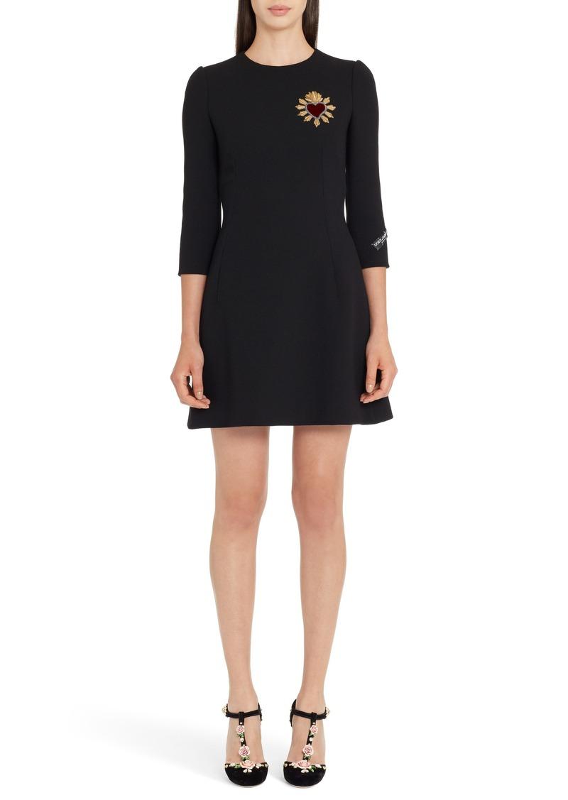 Dolce & Gabbana Dolce&Gabbana Heart Patch Wool Crepe Dress