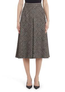 Dolce & Gabbana Dolce&Gabbana Inverted Pleat Plaid Wool Blend A-Line Skirt