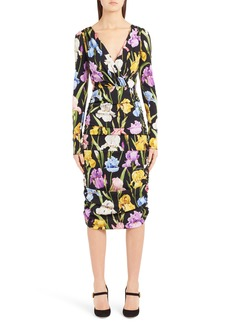 Dolce & Gabbana Dolce&Gabbana Iris Print Ruched Stretch Silk Dress