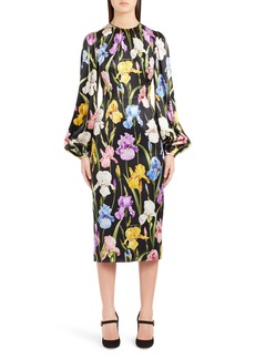 Dolce & Gabbana Dolce&Gabbana Iris Print Stretch Satin Dress