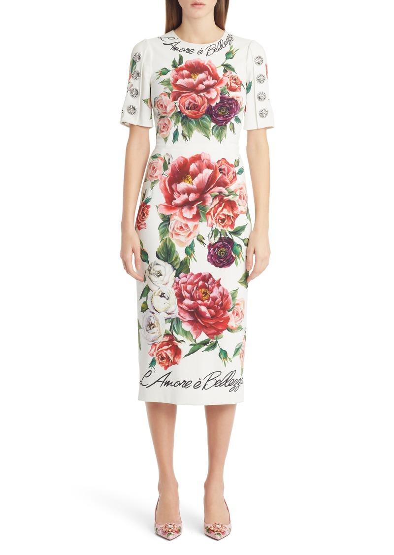 Dolce & Gabbana Dolce&Gabbana Jewel Button Peony Print Cady Dress
