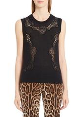 Dolce & Gabbana Dolce&Gabbana Lace Inset Cashmere Blend Sweater