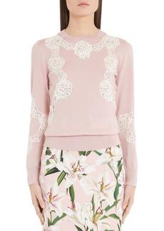 Dolce & Gabbana Dolce&Gabbana Lace Inset Silk Sweater