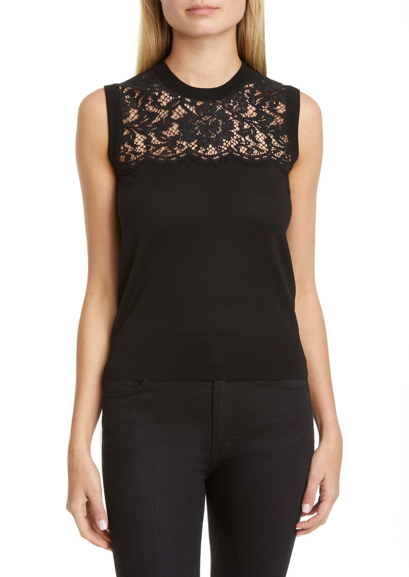 Dolce & Gabbana Dolce&Gabbana Lace Panel Wool Blend Shell