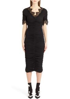 Dolce & Gabbana Dolce&Gabbana Lace Trim Ruched Silk Blend Dress