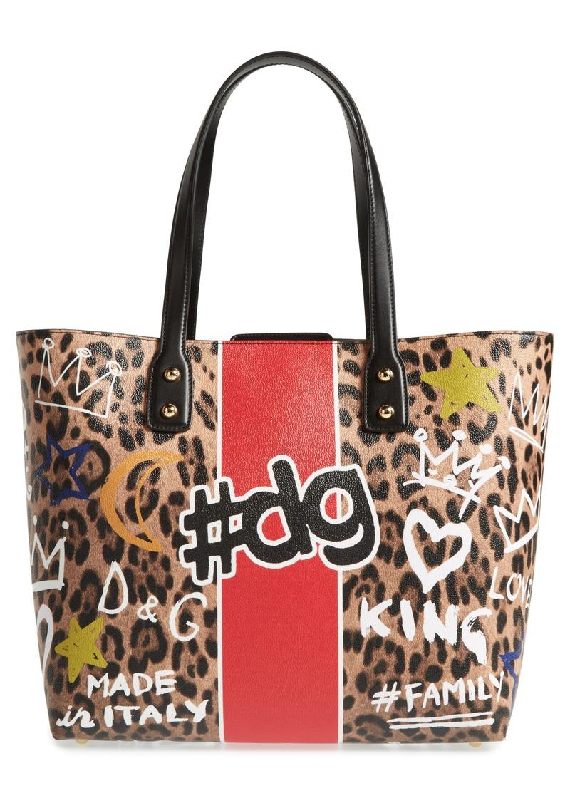 Dolce Gabbana Large Hashtag Graffiti Leather Tote