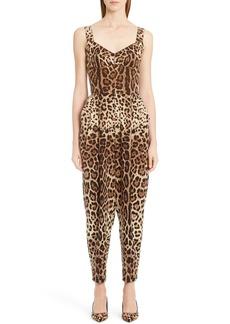 Dolce & Gabbana Dolce&Gabbana Leopard Print Stretch Cady Jumpsuit