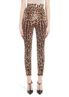 Dolce & Gabbana Dolce&Gabbana Leopard Print Stretch Silk Leggings