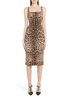 Dolce & Gabbana Dolce&Gabbana Leopard Print Stretch Silk Midi Sheath Dress