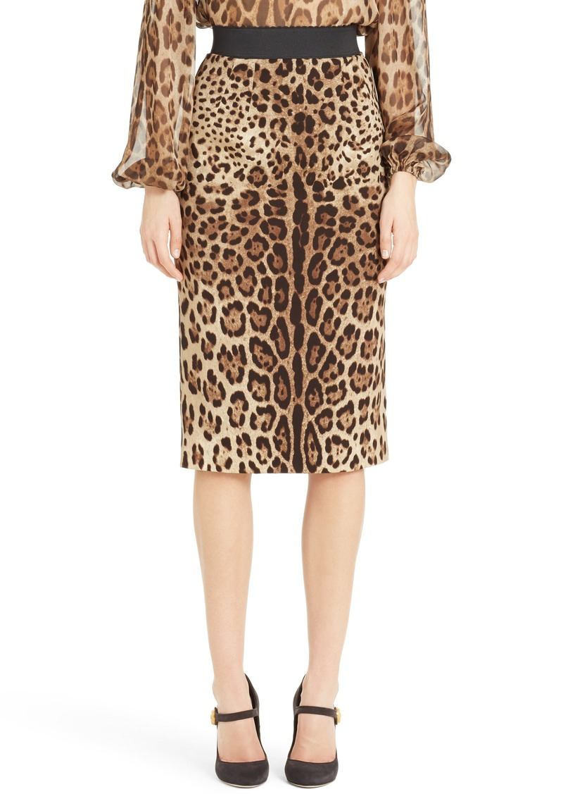 7e6109715 Dolce & Gabbana Dolce&Gabbana Leopard Print Stretch Silk Pencil Skirt