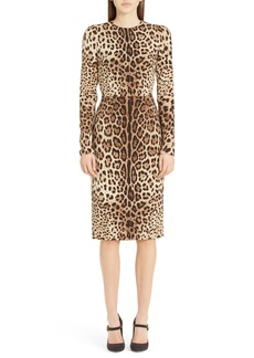 Dolce & Gabbana Dolce&Gabbana Leopard Print Stretch Silk Sheath Dress