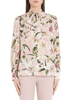 Dolce & Gabbana Dolce&Gabbana Lily Print Bow Neck Blouse