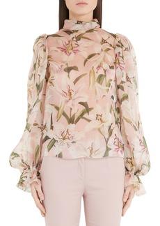 Dolce & Gabbana Dolce&Gabbana Lily Print Organza Puff Sleeve Blouse