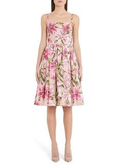 Dolce & Gabbana Dolce&Gabbana Lily Print Silk Organza Fit & Flare Dress