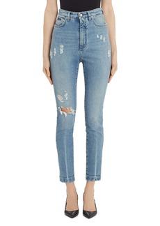 Dolce & Gabbana Dolce&Gabbana Logo Patch Ripped Skinny Jeans