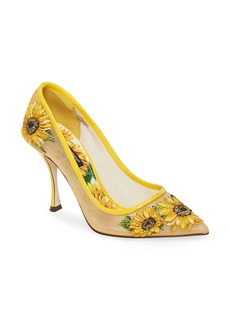 Dolce & Gabbana Dolce&Gabbana Lori Embroidered Mesh Pump (Women)