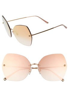 Dolce & Gabbana Dolce&Gabbana Lucia 64mm Mirrored Oversize Butterfly Sunglasses