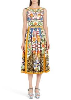 Dolce & Gabbana Dolce&Gabbana Maiolica Print Fit & Flare Dress
